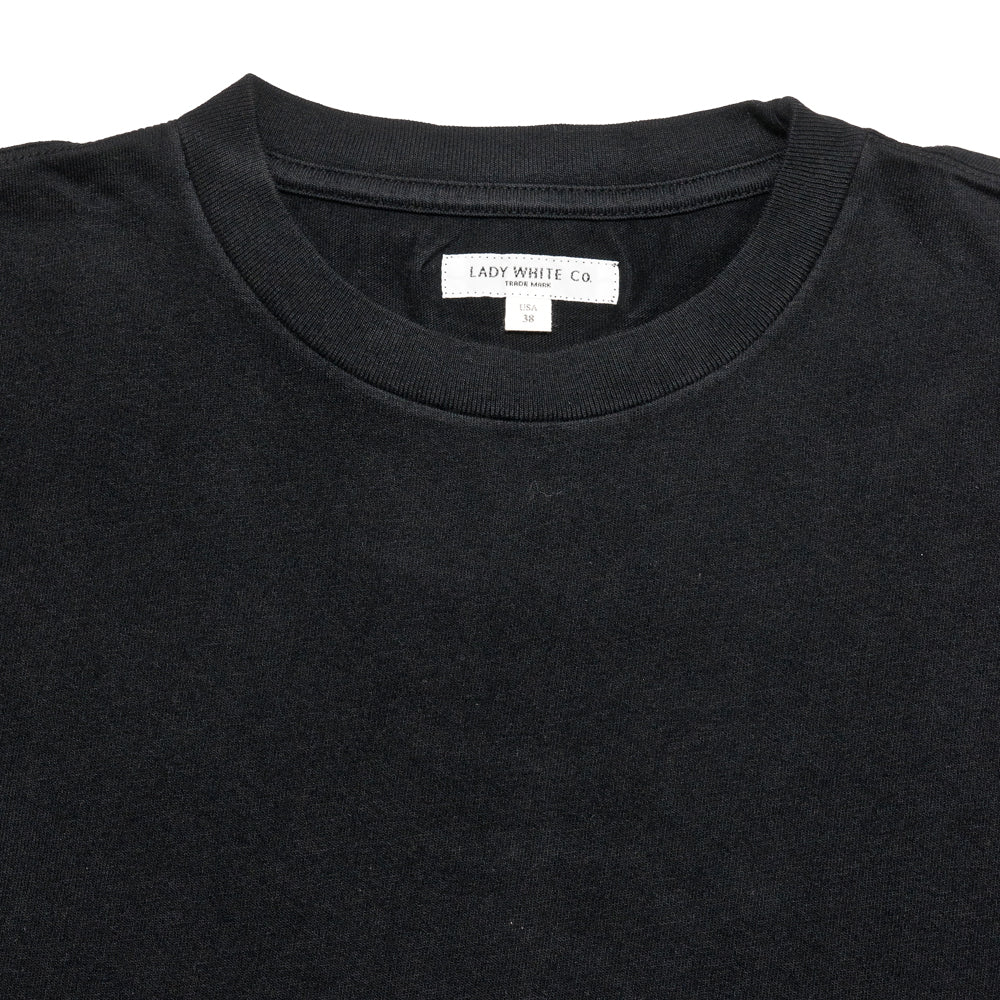 Lady White Co. Lite Jersey T-Shirt Black at shoplostfound, neck