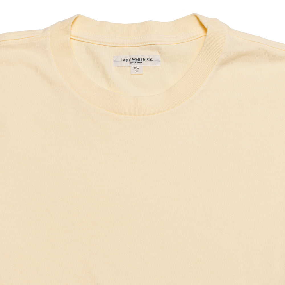Lady White Co. Lite Jersey T-Shirt Pale Yellow at shoplostfound, neck