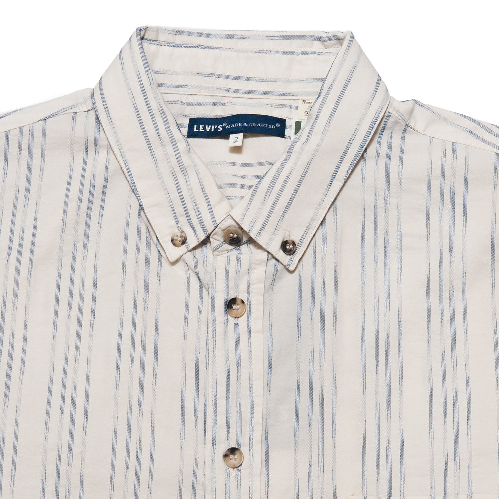 Levi's Made & Crafted Standard Shirt Ikat White/Blue at shoplostfound, neck