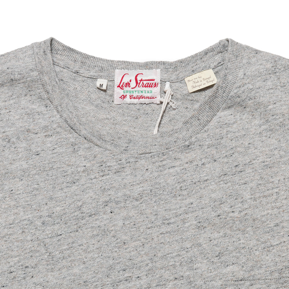 Levi's Vintage Clothing 1950's Sportswear Tee Grey Melange at shoplostfound, neck