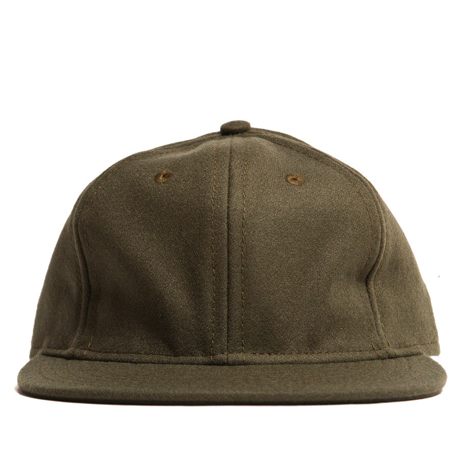 Ebbets Field Flannels Olive Wool 6 Panel with Brown Leather Strap