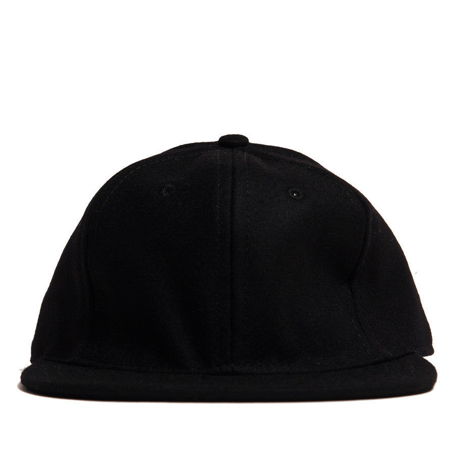 Ebbets Field Flannels Black Wool 6 Panel with Black Leather Strap