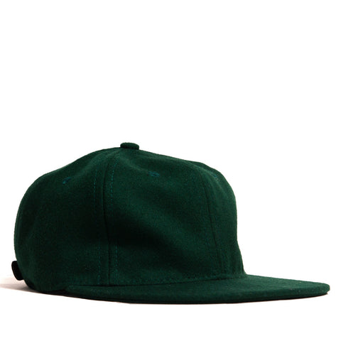 Ebbets Field Flannels Forest Green Wool 6 Panel with Black Leather Strap