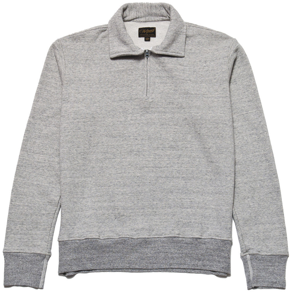 National Athletic Goods 1/4 Zip Campus in Mid Grey at shoplostfound in Toronto, front