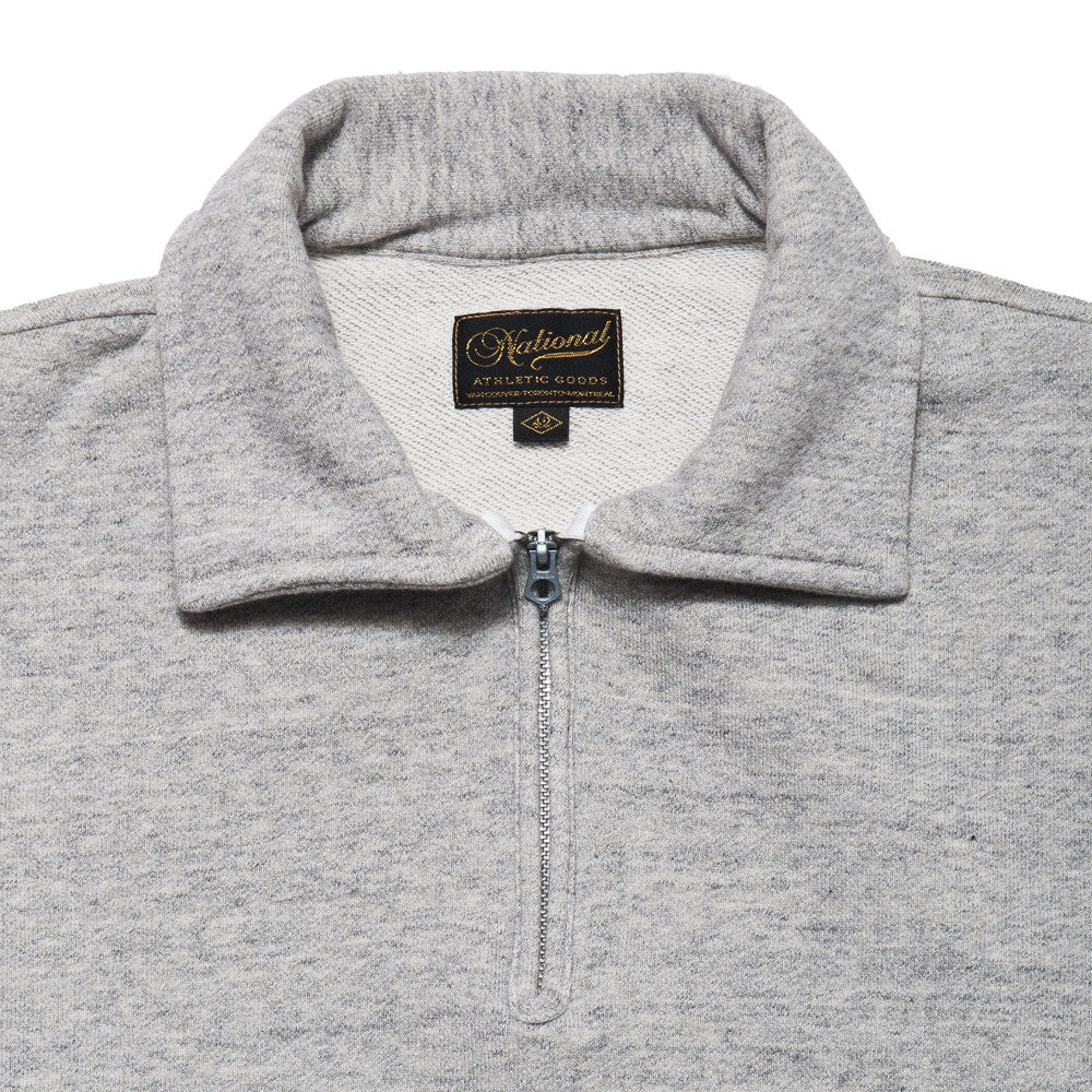 National Athletic Goods 1/4 Zip Campus in Mid Grey at shoplostfound in Toronto, collar