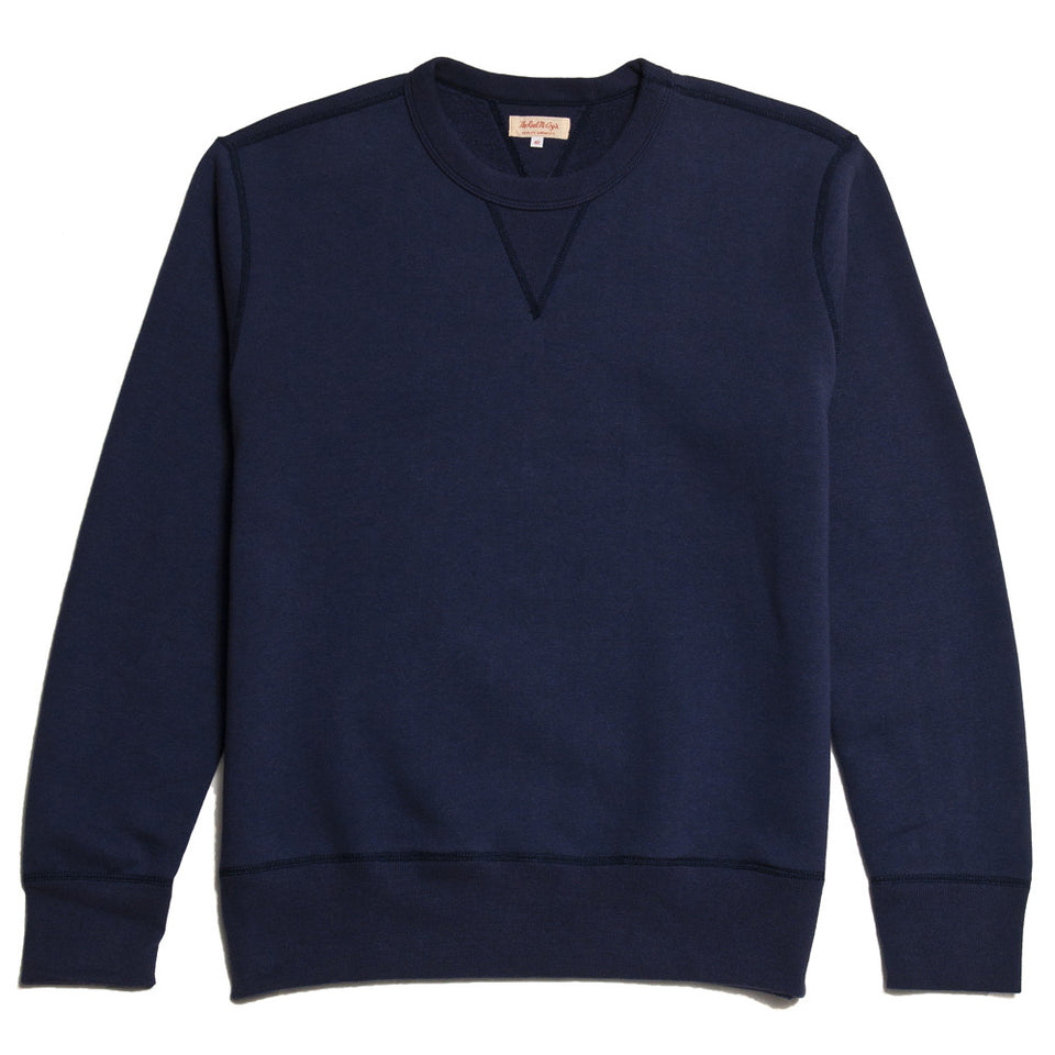 The Real McCoy's Loopwheel Crewneck Sweatshirt Navy MC13111 at shoplostfound in Toronto, front