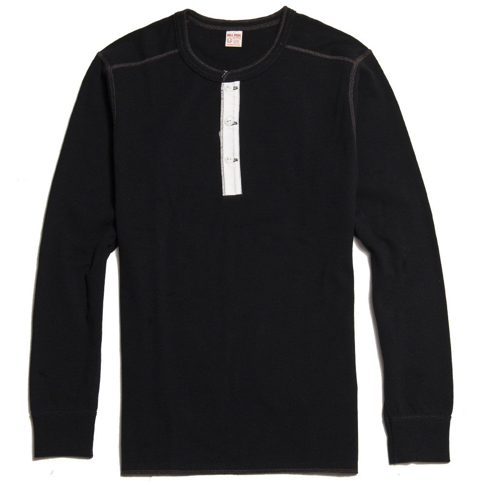 The Real McCoy's Joe McCoy MC16117 Long Sleeve Union Henley T-Shirt Black at shoplostfound in Toronto, front