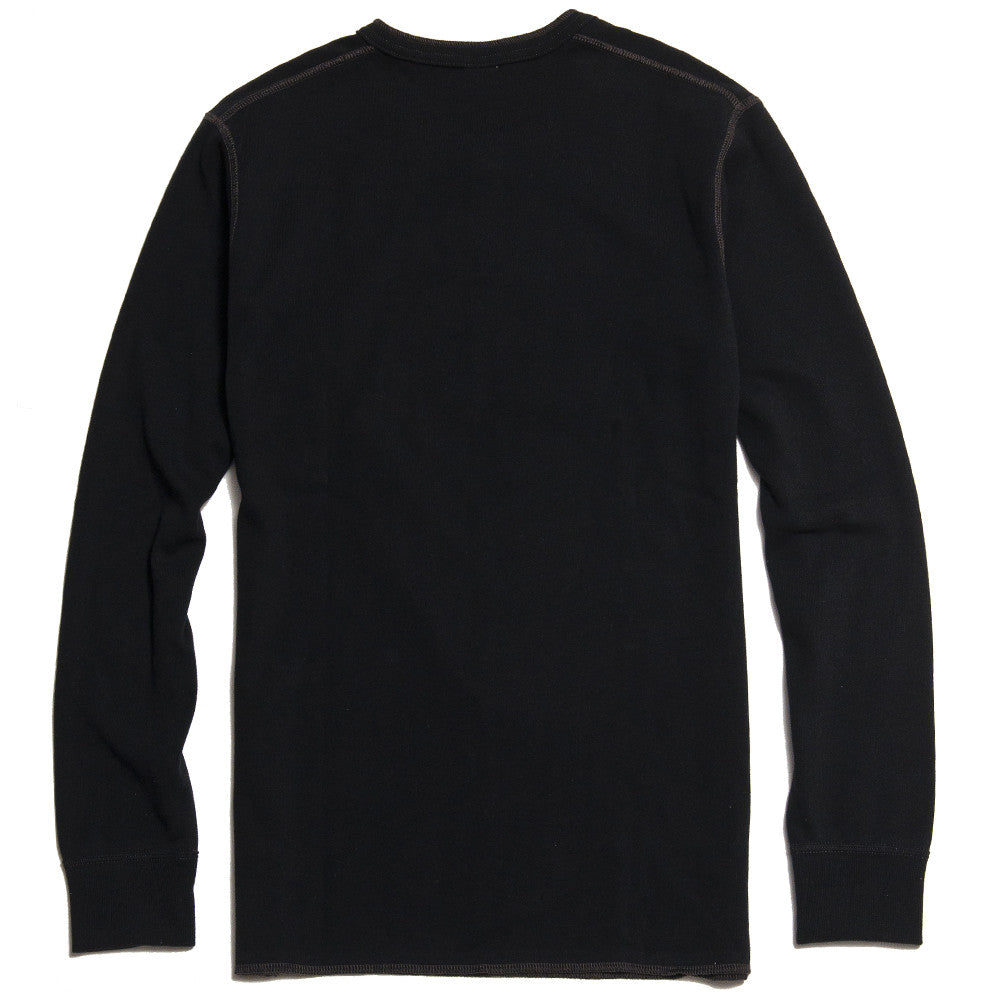 The Real McCoy's Joe McCoy MC16117 Long Sleeve Union Henley T-Shirt Black at shoplostfound in Toronto, back