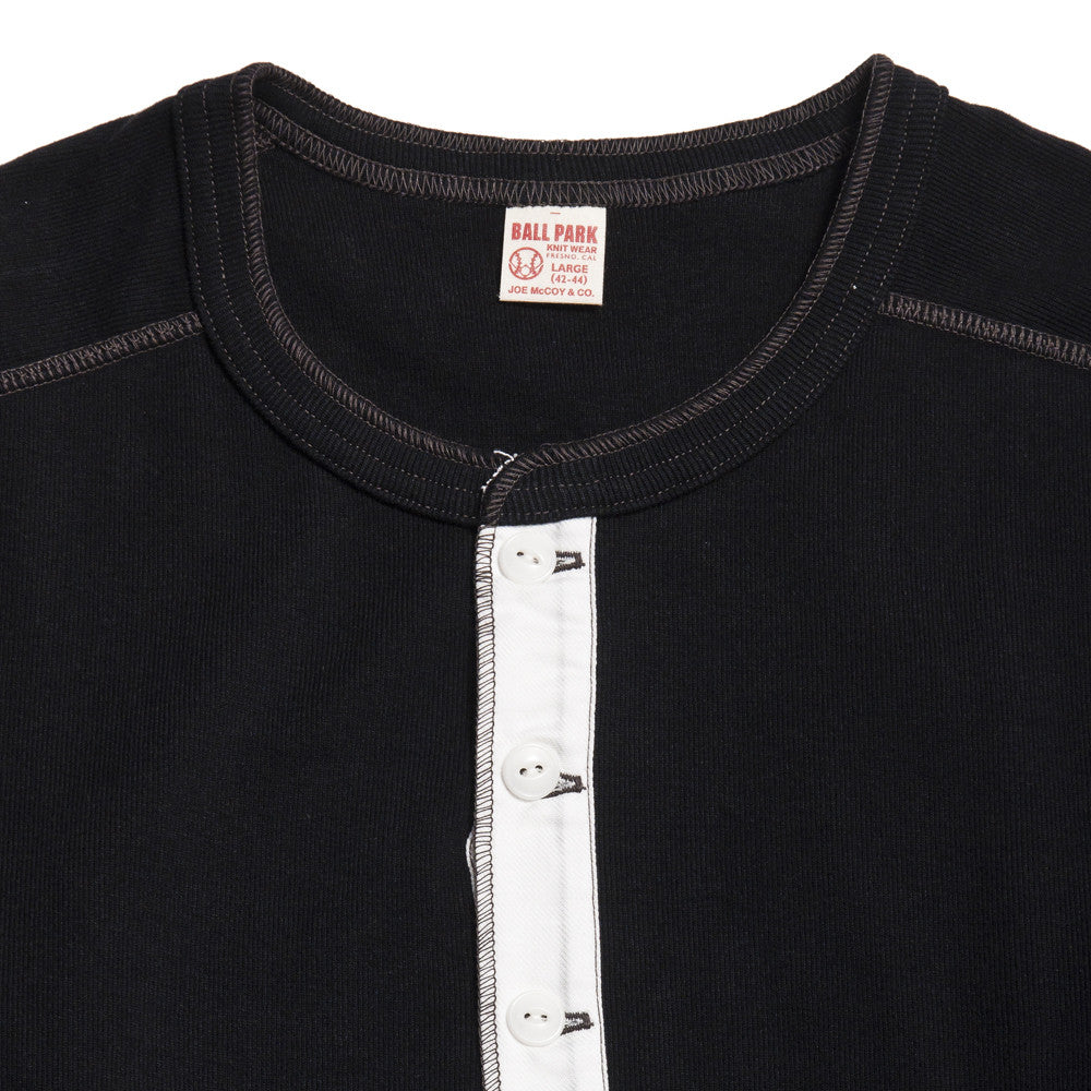 The Real McCoy's Joe McCoy MC16117 Long Sleeve Union Henley T-Shirt Black at shoplostfound in Toronto, collar