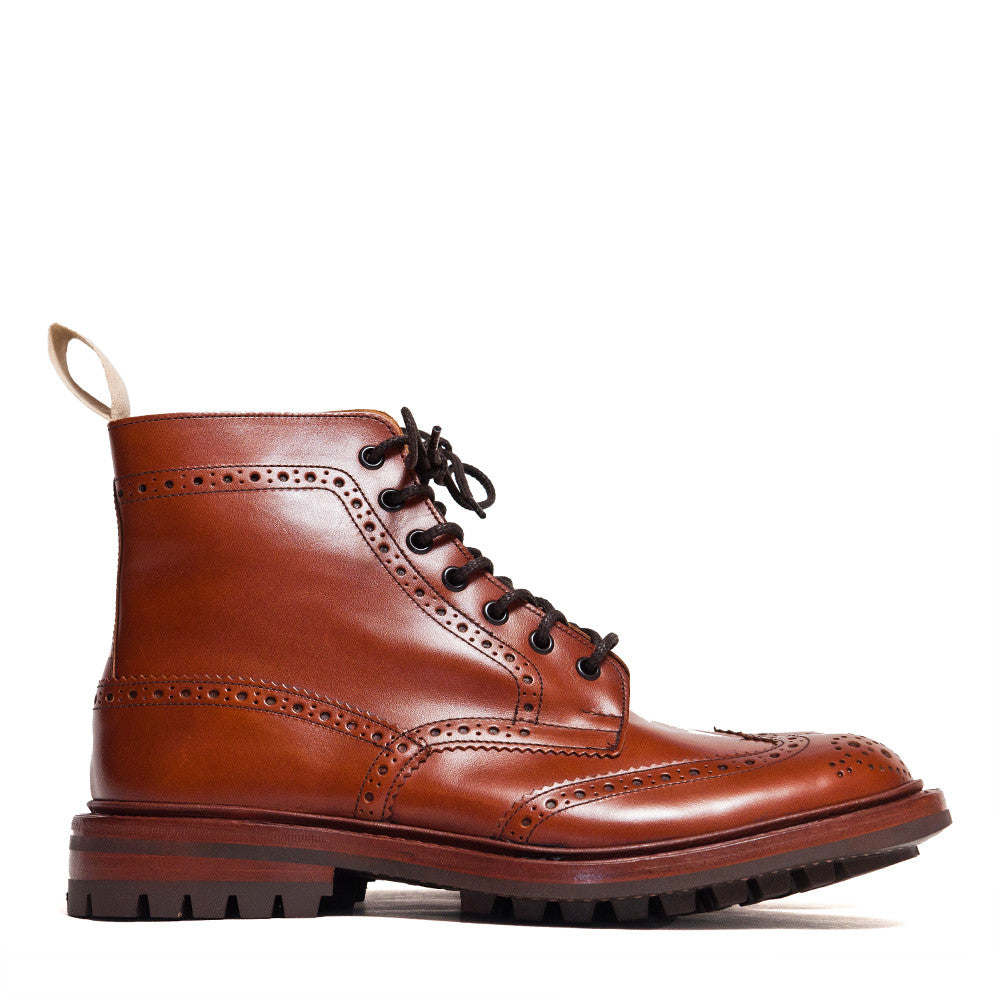 Tricker's * lost & found Marron Leather Commando Sole Stow Boot at shoplostfound in Toronto, profile