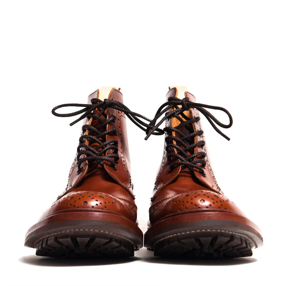 Tricker's * lost & found Marron Leather Commando Sole Stow Boot at shoplostfound in Toronto, front