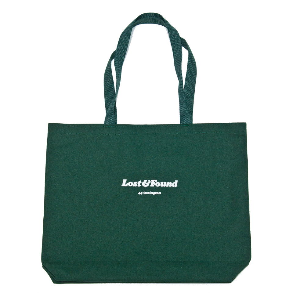 Lost & Found Canvas Tote Bag Hunter Green at shoplostfound, front