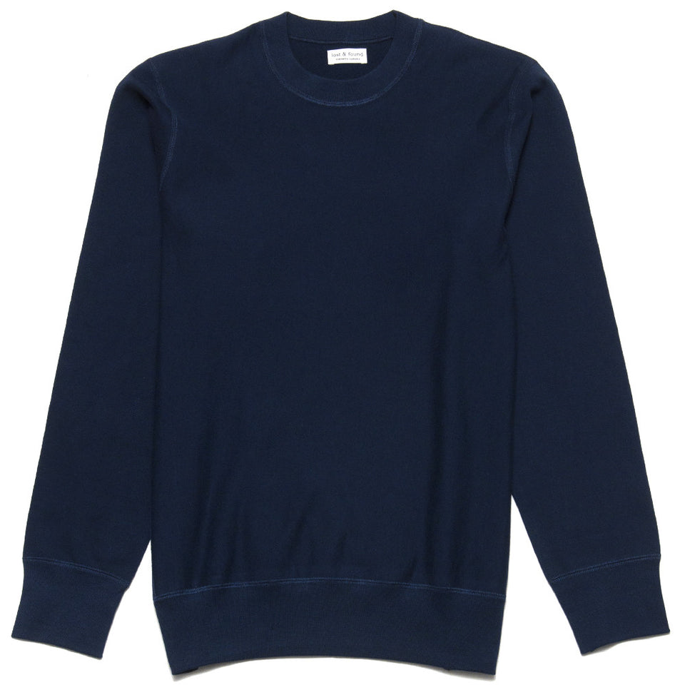 lost & found Mid Weight Gusset Crewneck Sweatshirt Navy at shoplostfound, front