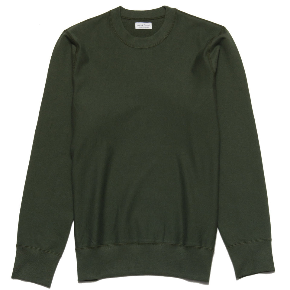 lost & found Mid Weight Gusset Crewneck Sweatshirt Olive at shoplostfound, front