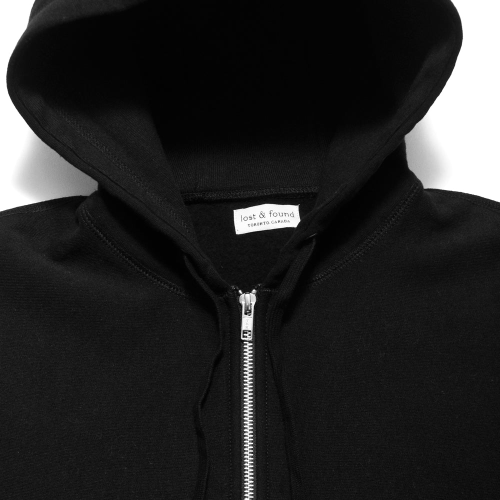 lost & found Zip Hoodie Black at shoplostfound, neck