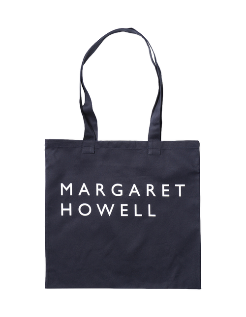 Margaret Howell Logo Bag Cotton Drill Navy Front