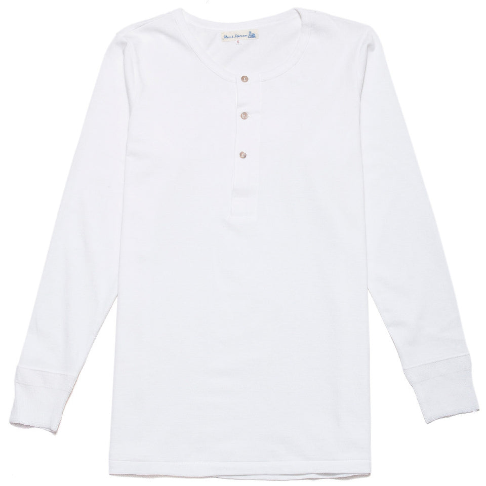 Merz B. Schwanen 206 Henley Long Sleeve White at shoplostfound, front
