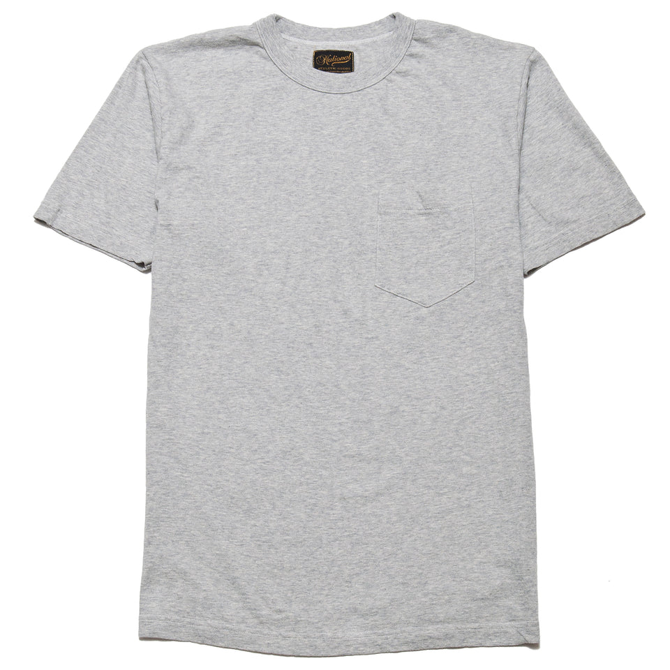 National Athletic Goods Pocket Tee Ash Grey at shoplostfound, front