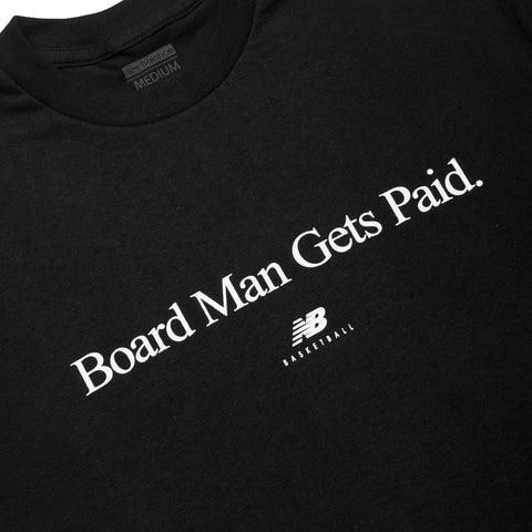 New Balance Board Man Gets Paid Tee Black / White at shoplostfound, front