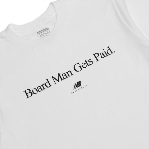 New Balance Board Man Gets Paid Tee White / Black at shoplostfound, front