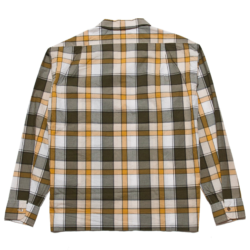 Nigel Cabourn Open Collared Shirt L/S Olive at shoplostfound, back
