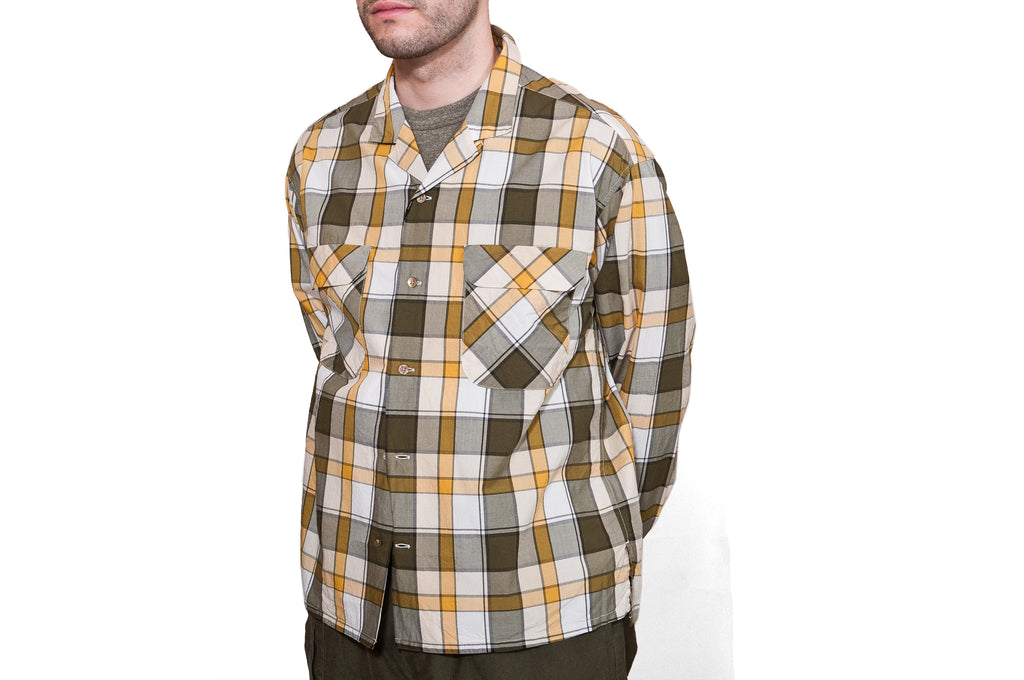 Nigel Cabourn Open Collared Shirt L/S Olive at shoplostfound, Holden