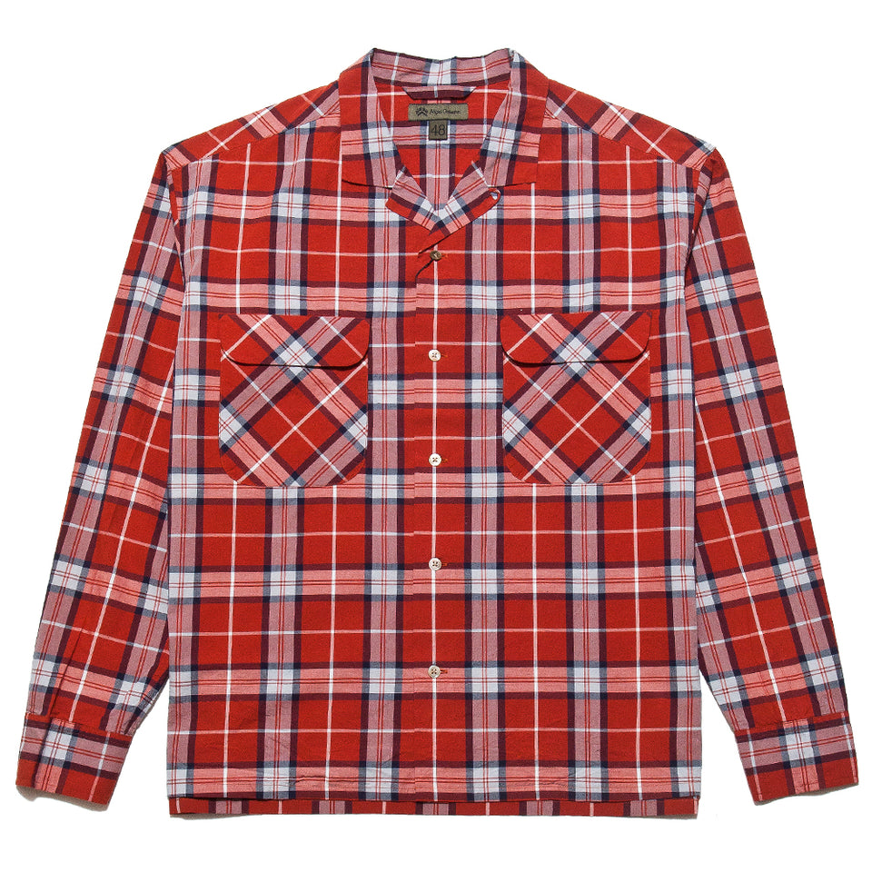 Nigel Cabourn Open Collared Shirt L/S Red at shoplostfound, front