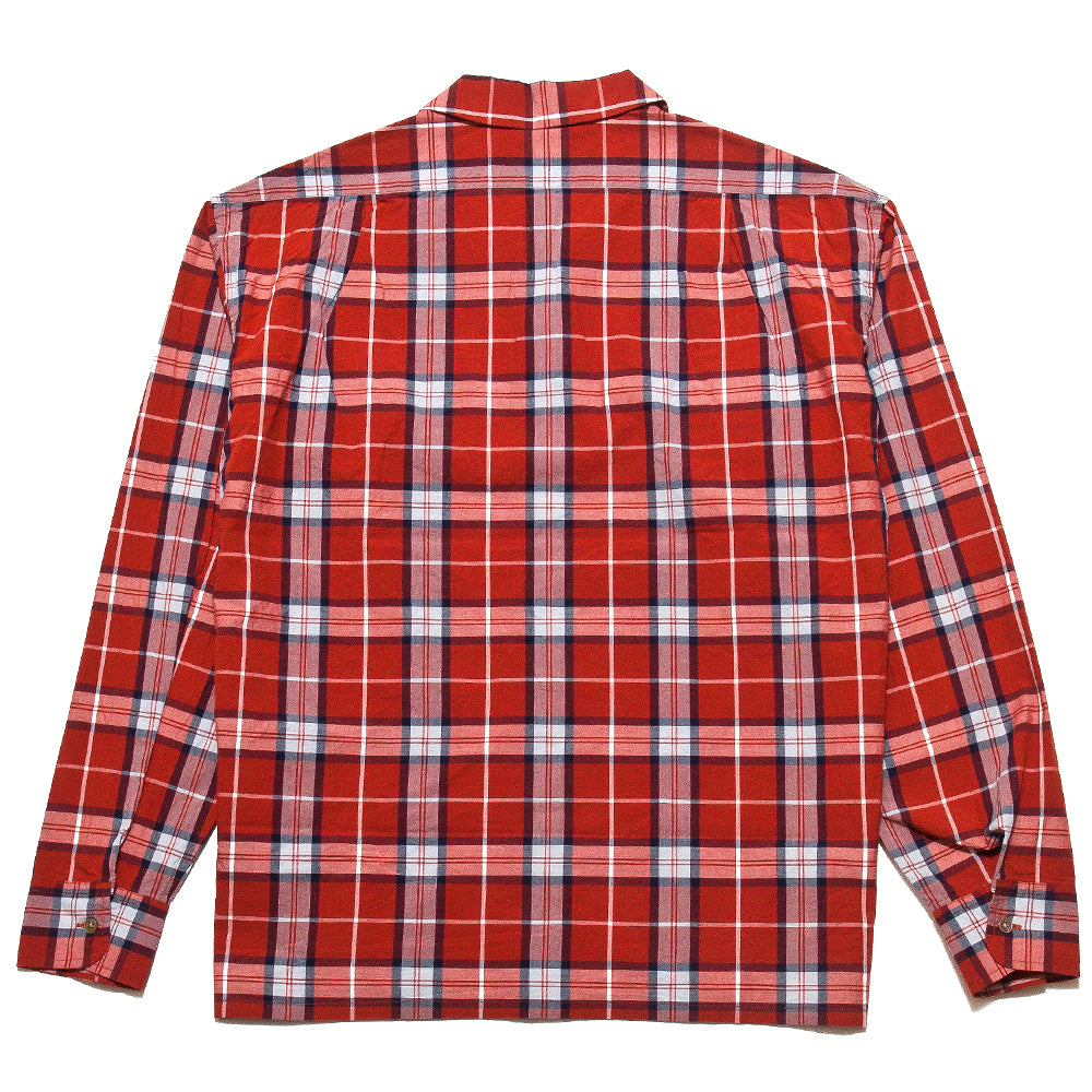 Nigel Cabourn Open Collared Shirt L/S Red at shoplostfound, back