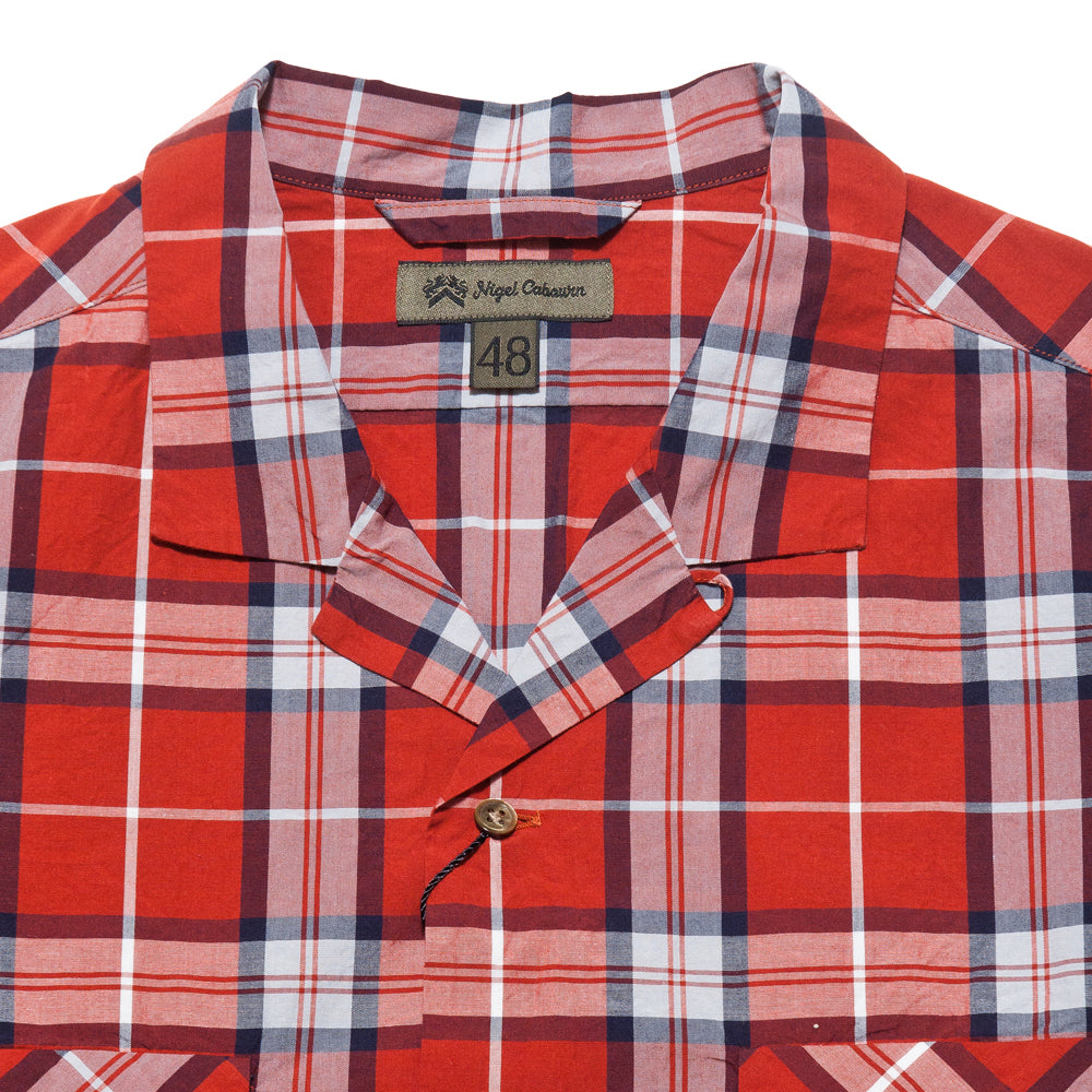 Nigel Cabourn Open Collared Shirt L/S Red at shoplostfound, neck