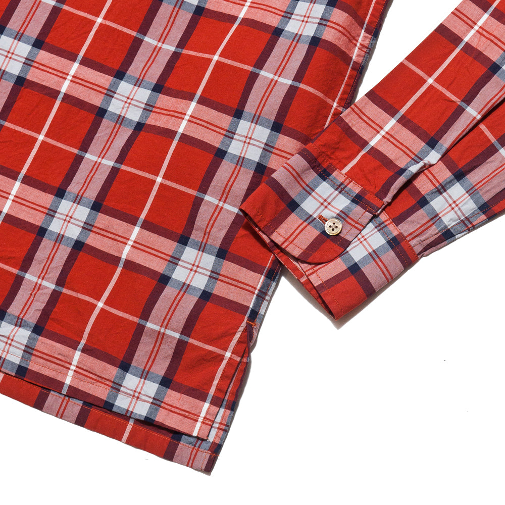 Nigel Cabourn Open Collared Shirt L/S Red at shoplostfound, cuff
