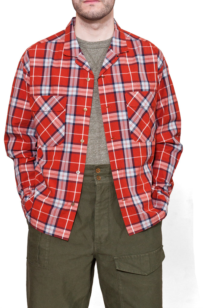 Nigel Cabourn Open Collared Shirt L/S Red at shoplostfound, Holden