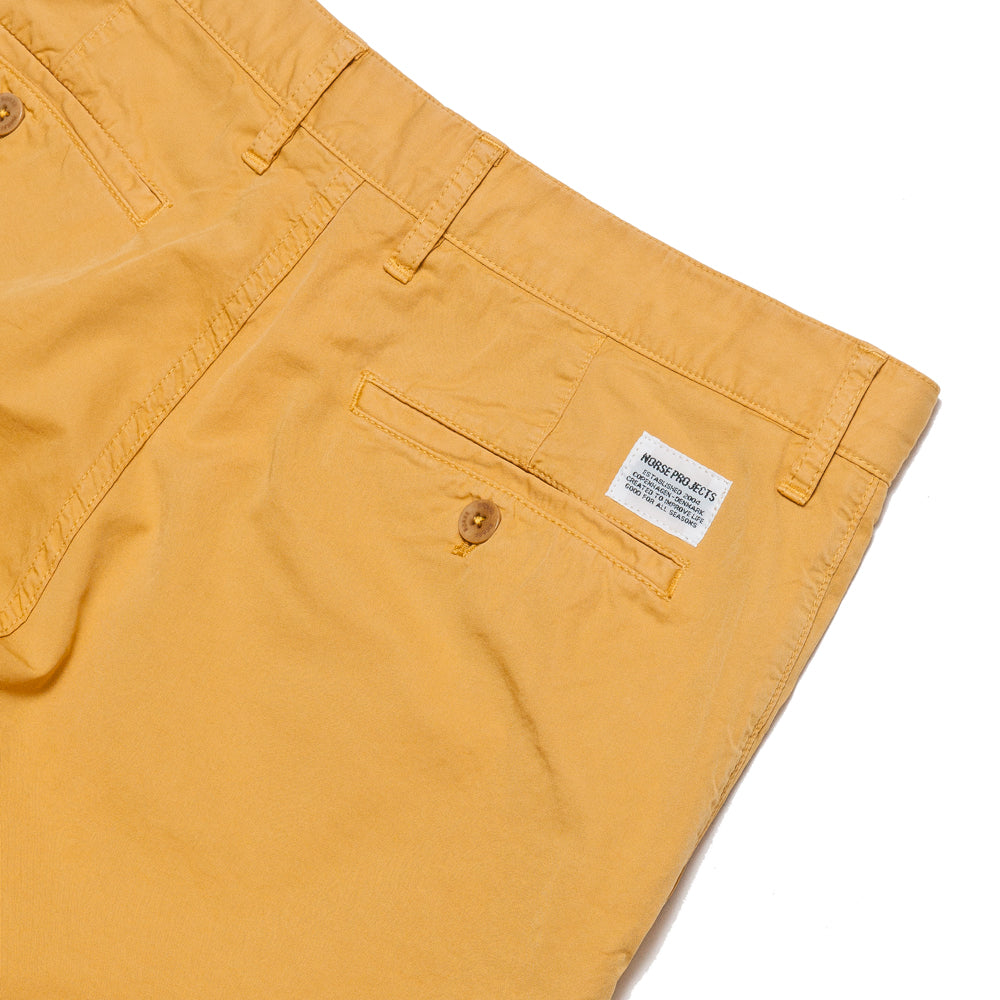 Norse Projects Aros Light Twill Short Sunwashed Yellow at shoplostfound, detail