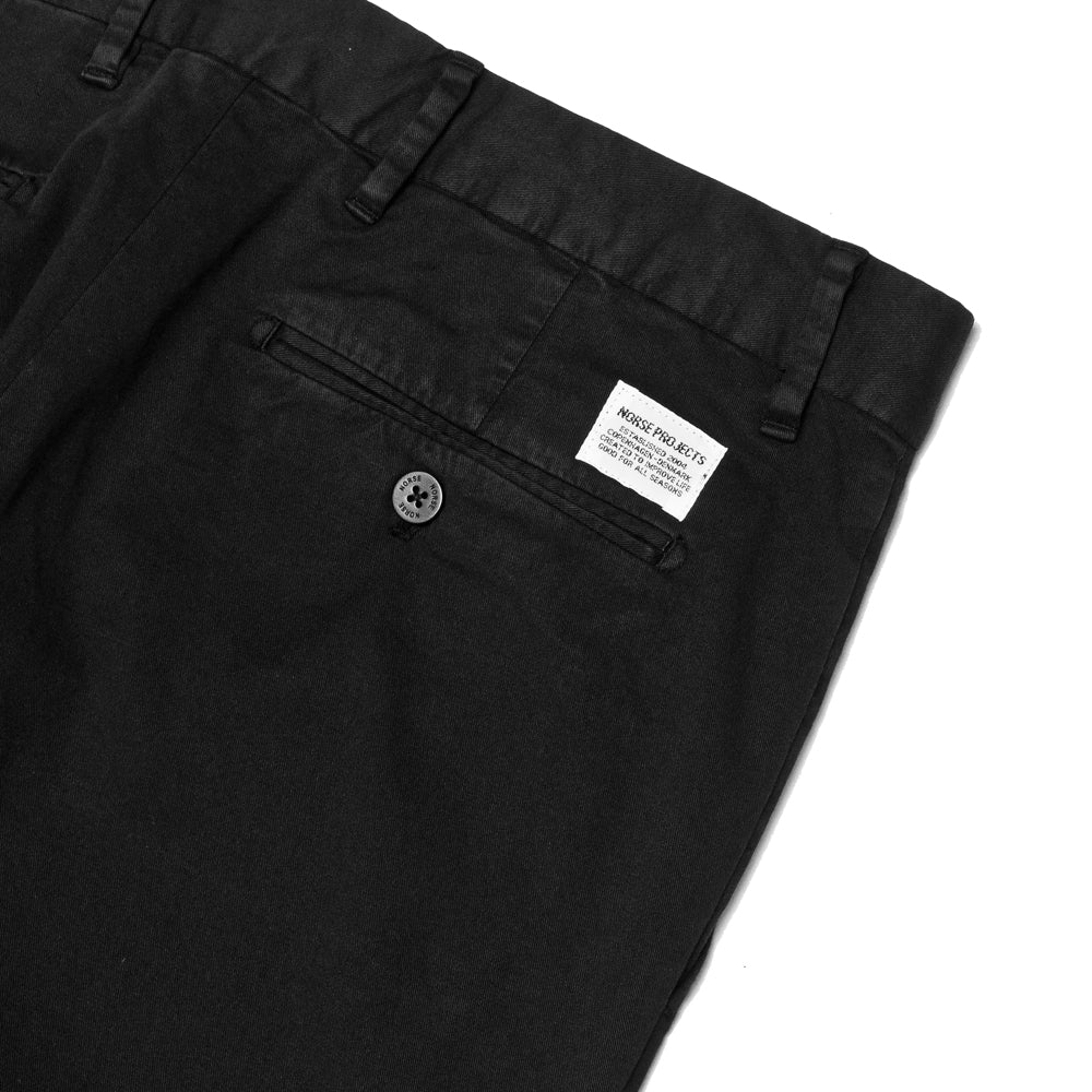 Norse Projects Aros Slim Light Stretch Black at shoplostfound, detail