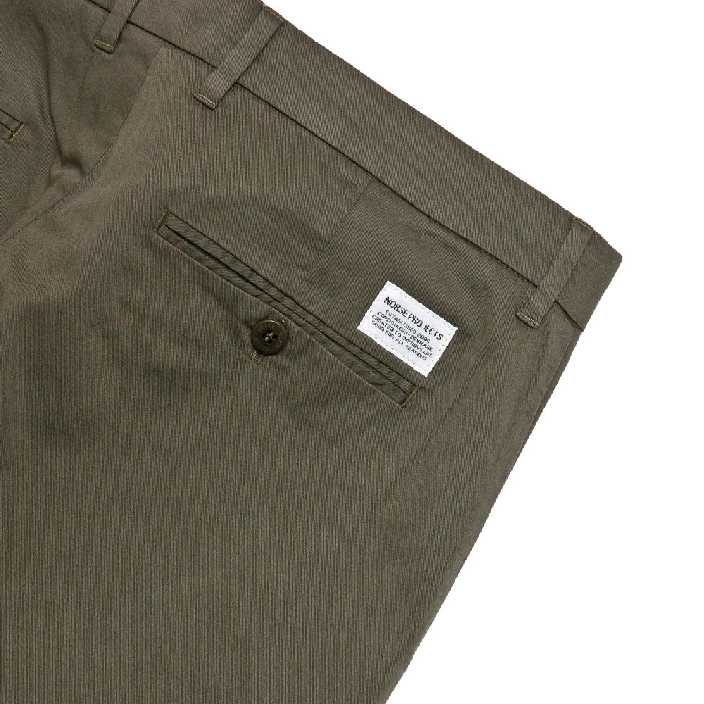 Norse Projects Aros Slim Light Stretch Chino Ivy Green shoplostfound 4