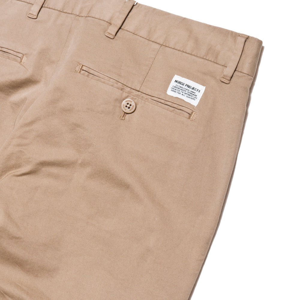 Norse Projects Aros Slim Light Stretch Utility Khaki at shoplostfound, detail