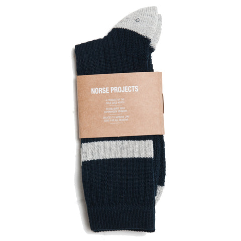 Norse Projects Bjarki Cotton Sport Socks Dark Navy