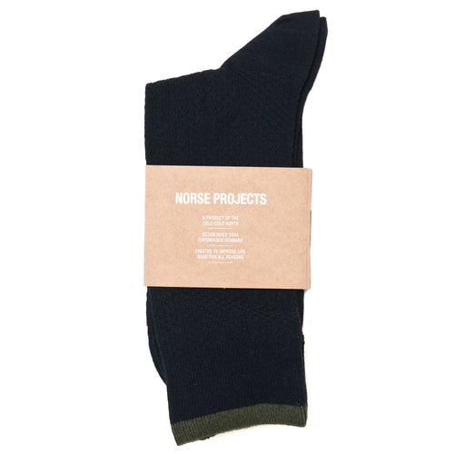 Norse Projects Bjarki Texture Socks Dark Navy shoplostfound 1