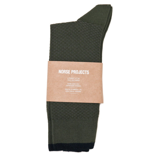 Norse Projects Bjarki Texture Socks Ivy Green shoplostfound 1