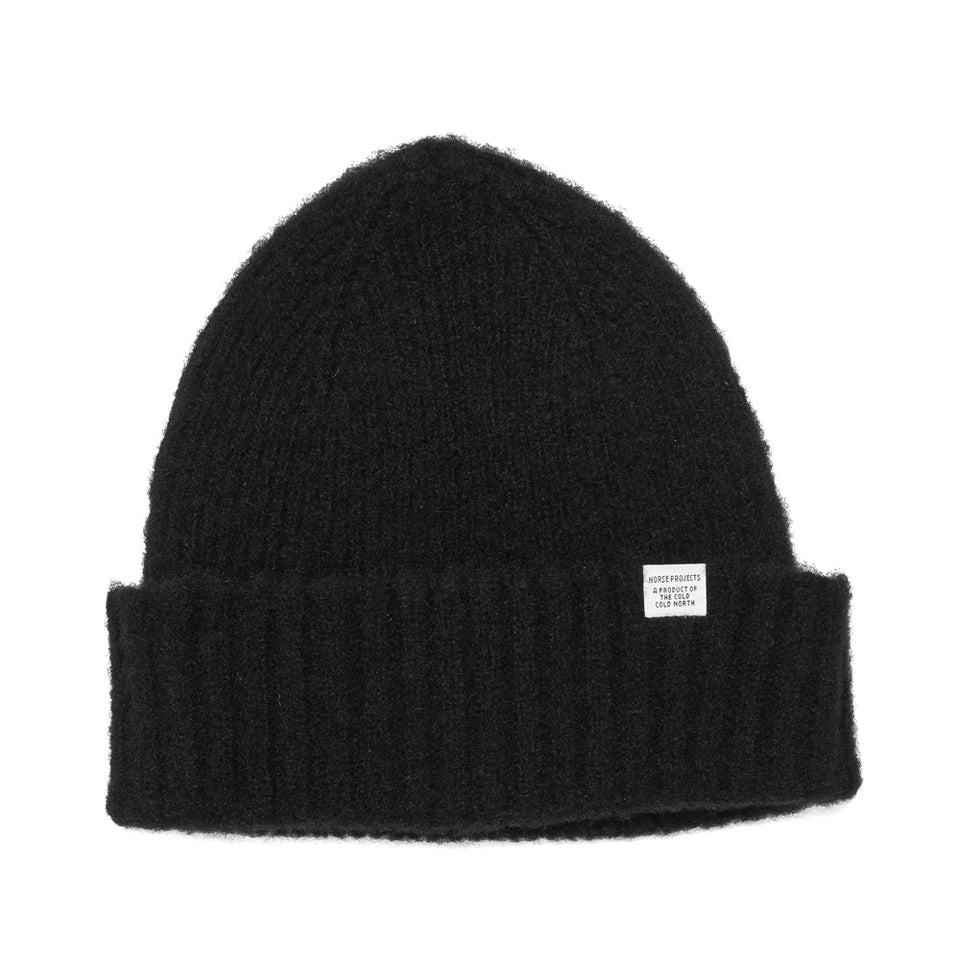Norse Projects Brushed Lambswool Beanie Black at shoplostfound, front