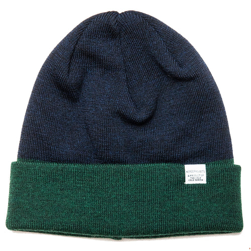 Norse Projects Colour Block Beanie Spinnaker Green at shoplostfound, front