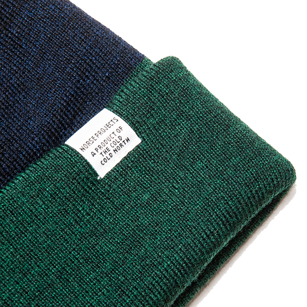 Norse Projects Colour Block Beanie Spinnaker Green at shoplostfound, detail