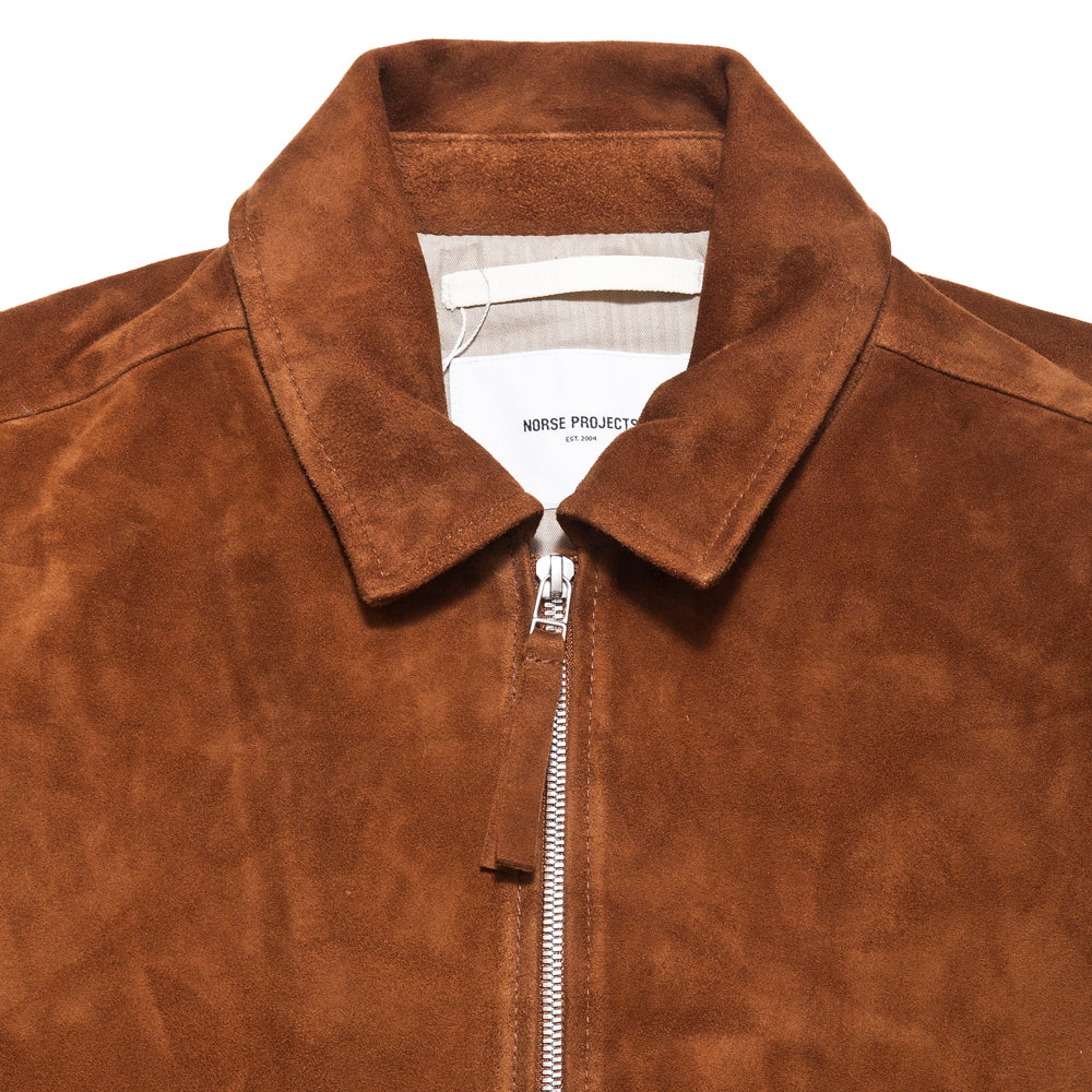 Norse Projects Elliot Suede Zircon Brown at shoplostfound, collar