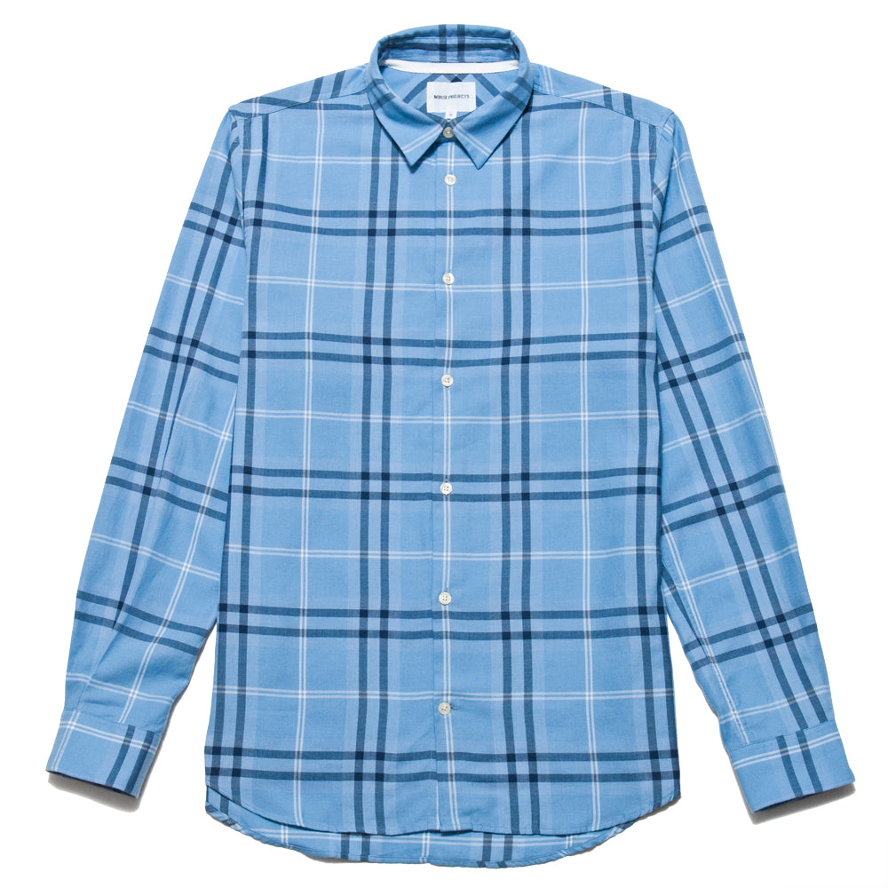Norse Projects Hans Classic Check Luminous Blue at shoplostfound, front