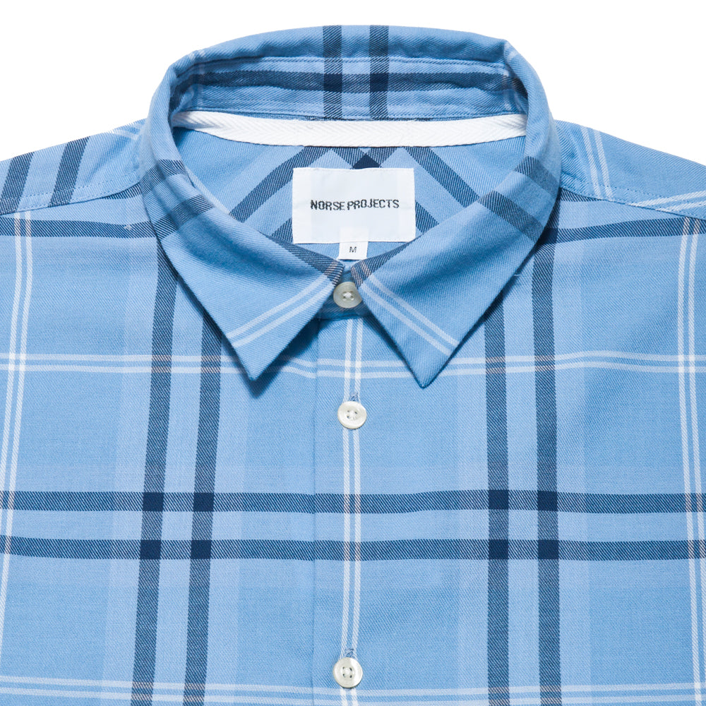 Norse Projects Hans Classic Check Luminous Blue at shoplostfound, neck