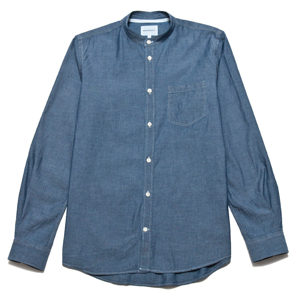 Norse Projects Hans Collarless Chambray Light Indigo at shoplostfound, front