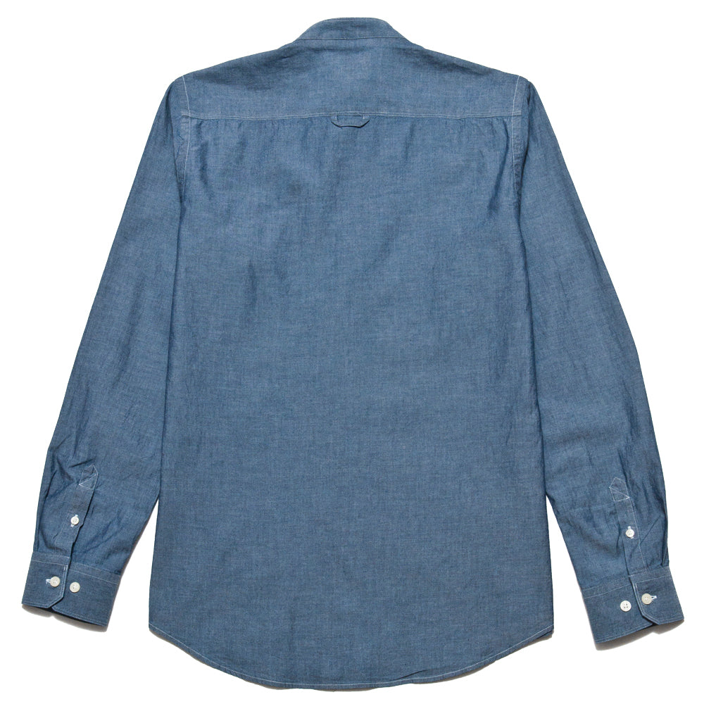 Norse Projects Hans Collarless Chambray Light Indigo at shoplostfound, back