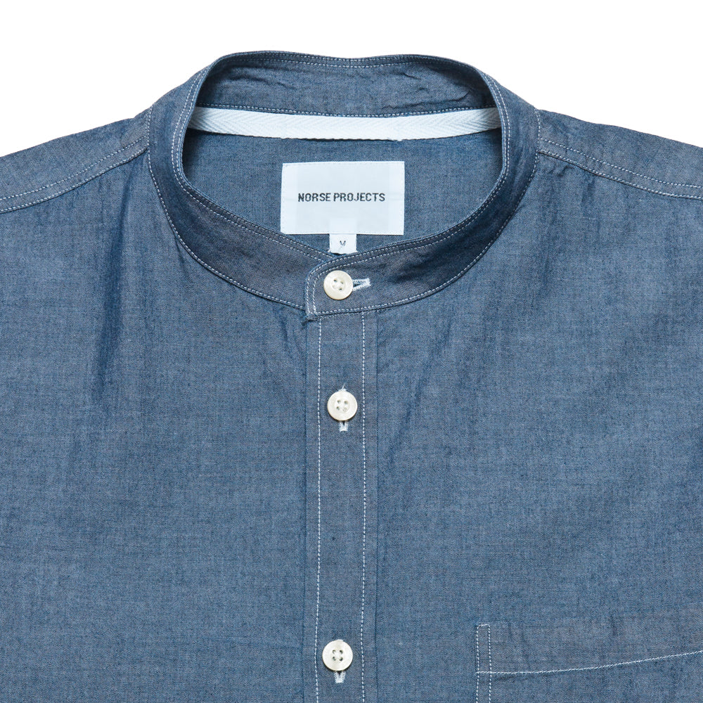 Norse Projects Hans Collarless Chambray Light Indigo at shoplostfound, neck