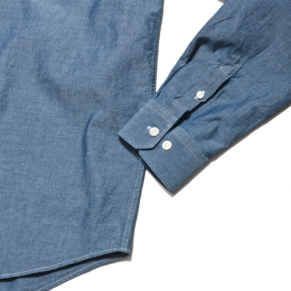 Norse Projects Hans Collarless Chambray Light Indigo at shoplostfound, cuff