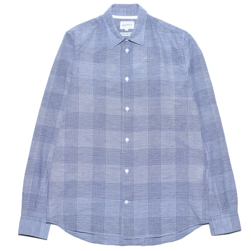 norse-projects-hans-cotton-linen-check-twilight-blue-front