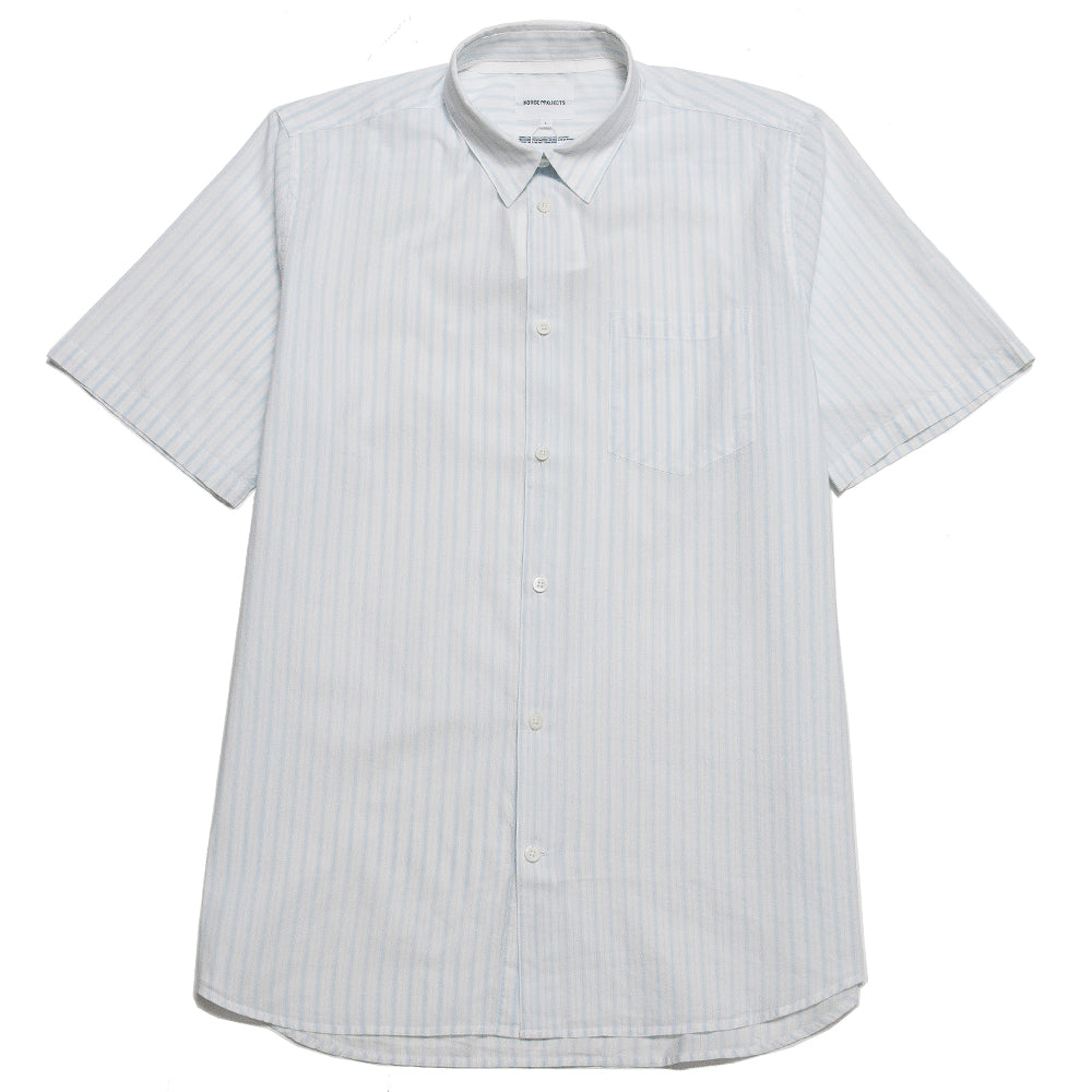 Norse Projects Hans Short Sleeve Summer Plain Weave Blue Stripe at shoplostfound, front